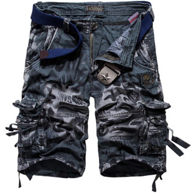 Plus Size 29-42 Brand New Mens Military Cargo Shorts Army Camouflage Pockets Shorts Men Cotton Casual Short Print Shorts No Belt