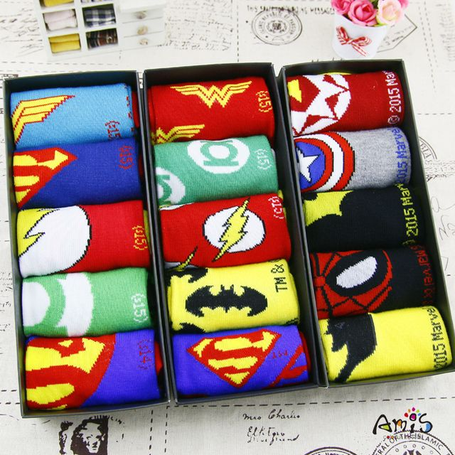 35-43 1lot=5pairs socks MARVEL DC Comics NO BOX Men women BOYS GIRLS summer thin couples bright Avengers alliance cartoon ankle