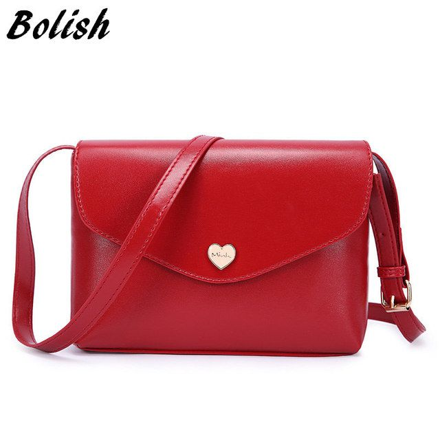Bolish Hot Sale Heart Women Leather Handbags CrossBody Shoulder Bags Fashion Messenger Bags Small Women Bags