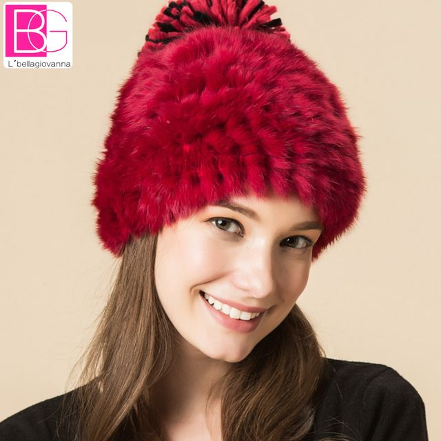 Winter Rabbit Fur Beanies Headgear For Women With  Luxury Ball Flower Cap Women's Customized Hat Beanie