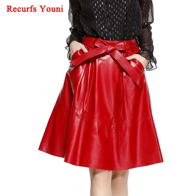2019 Spring Female Genuie Leather Midi Skirt Lady Street Saia Bow Belt Retro Vase Big Red/Black Faldas Girls Pleated Jupe Faldas