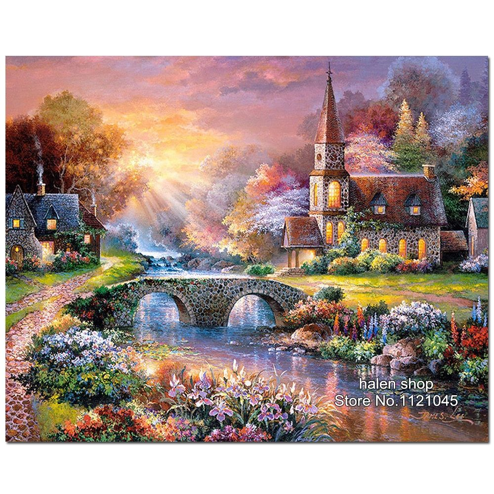 5D Square Diamond Pattern mountain villa Diamond Embroidery Diy Needlework Diamond Painting Cross Stitch Full Rhinestones VS132
