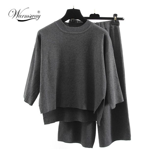 2017 new Autumn European fashion Sweater Suit Fashion Knitting Unlined Upper Garment Wide Leg Pants Woman WS-156