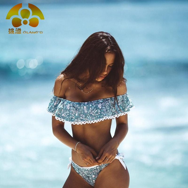 QIANG YI 2017 Summer Sexy Bikini Set Strapless Swimsuit Women Swimwear Bathing suit Off Shoulder Lace Crop Top Female Bandeau
