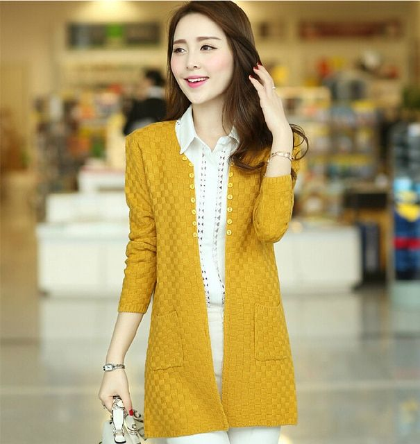7 Colors Womens Sweaters Fashion 2015 Autumn Brand Long Sleeve Cardigan Plus Size Knitted Ourwear Factory Directly Hot Sale