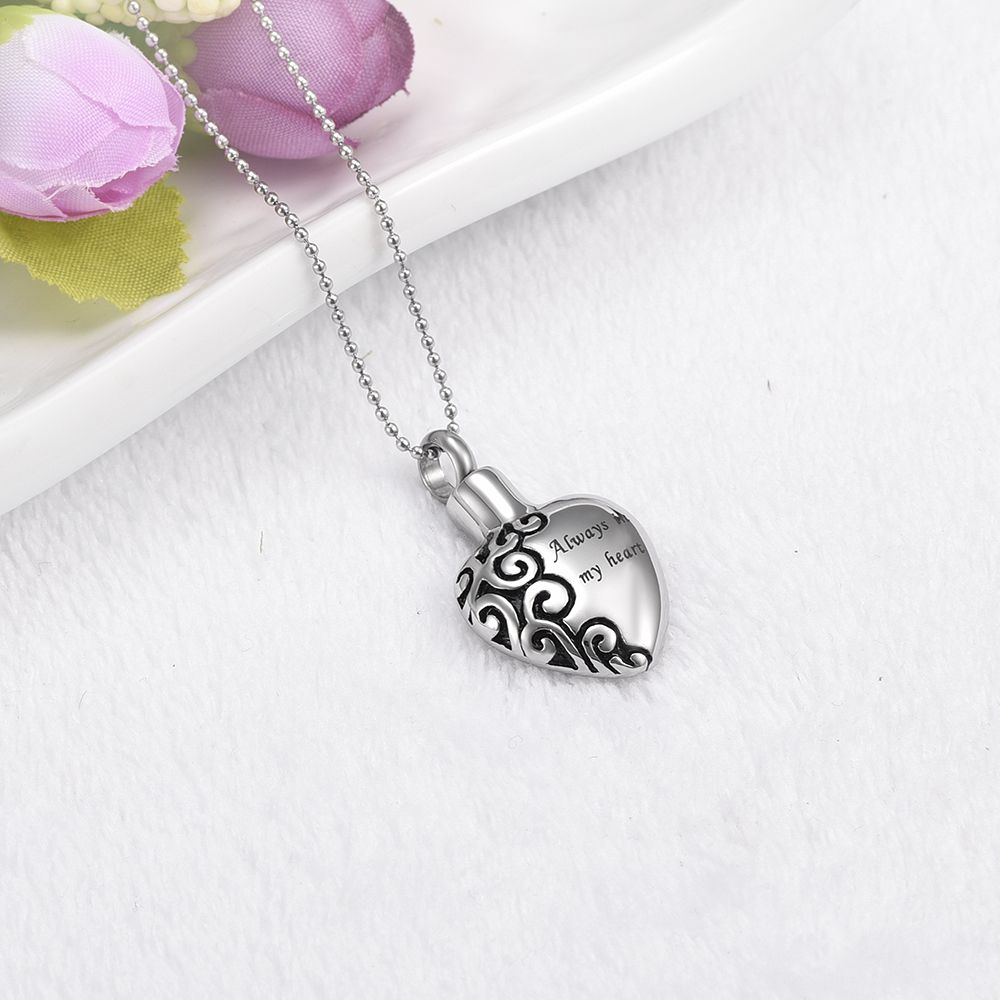 IJD2472 Hot Selling 316L Stainless Steel Always In My Heart Cremation Urn Jewelry & Pendant Necklace For Women and Men