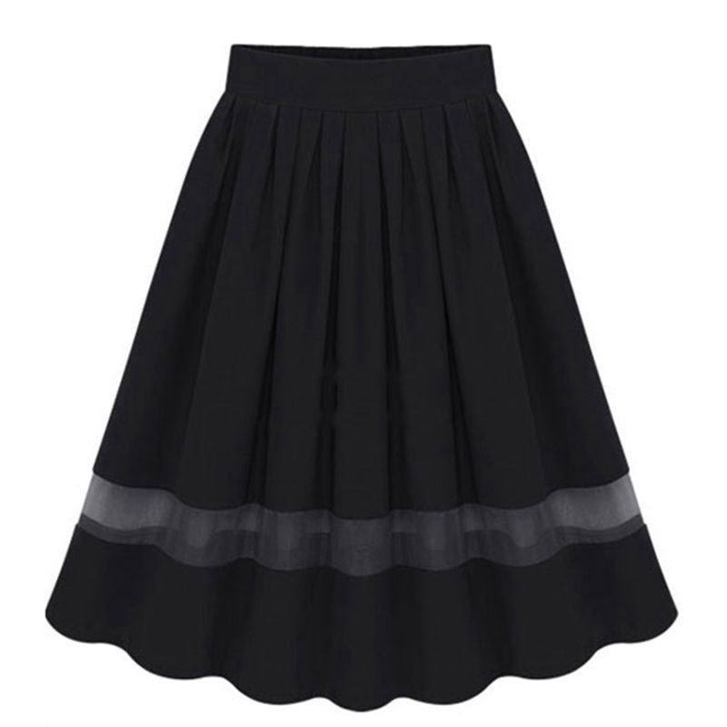 Midi Skirt 2017 Summer Women Clothing High Waist Skirts Pleated A Line Casual Knee Length Saia Petticoat WSK005