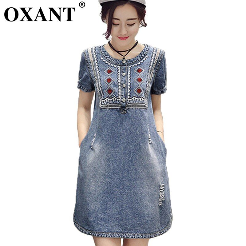 OXANT Summer Women Sundress Retro Vintage Embroidery Soft Jeans Denim Dress O-Neck Mini Casual Plus Size Vestidos Femininos XD56