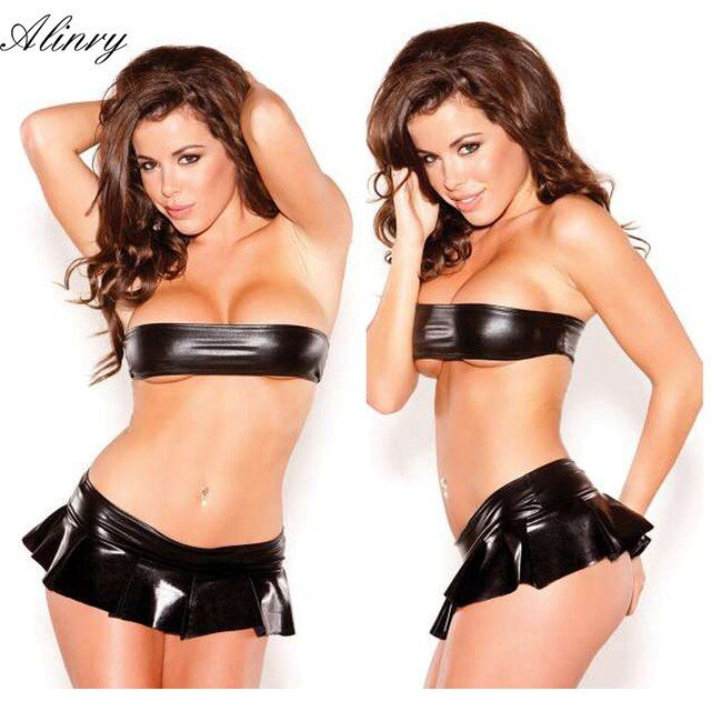 New black leather bikini erotic lingerie set pole dance pleated miniskirt sexy lingerie hot lenceria sexy nuisette sexy costumes