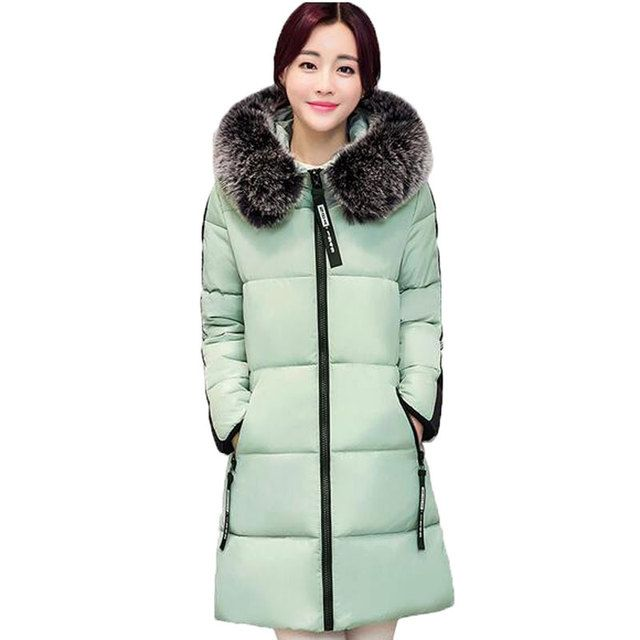 new 2017 winter warm Cotton jacket Women Faux fur collar Thick Slim hooded plus size Long  jacket Coat AE680