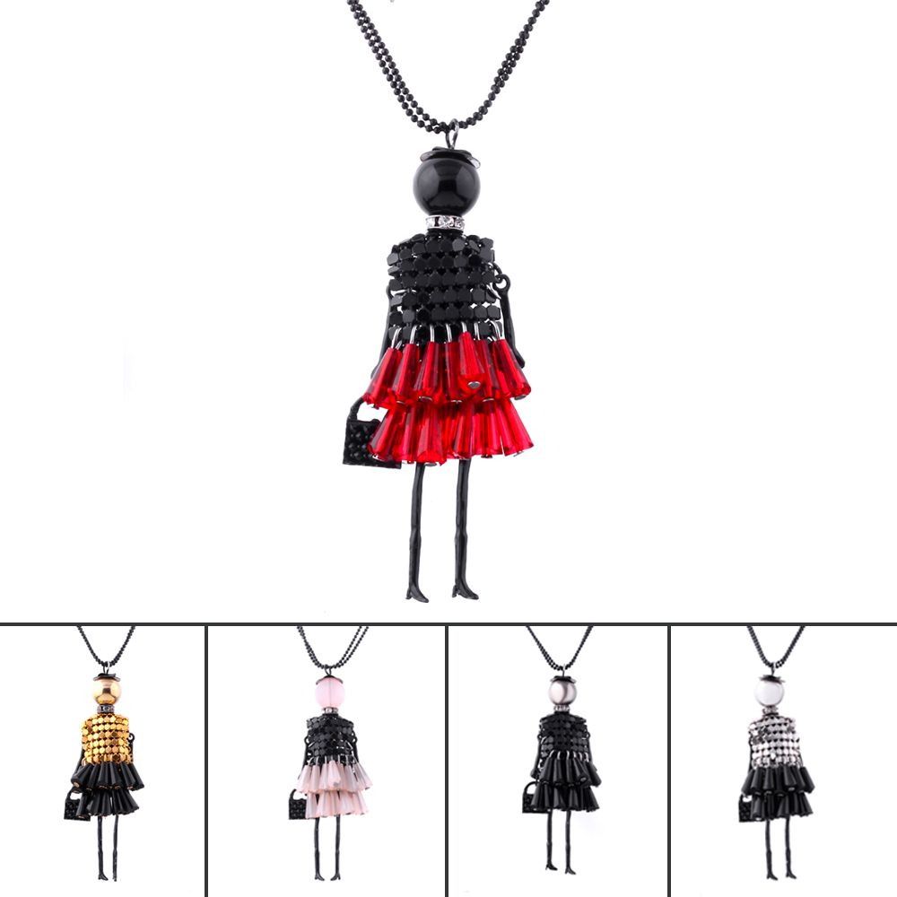 IF ME 5 Colors Fashion Doll Beads Charms Choker Long Necklace & Pendant Statement Necklace Collares Girl Women Drop Shipping