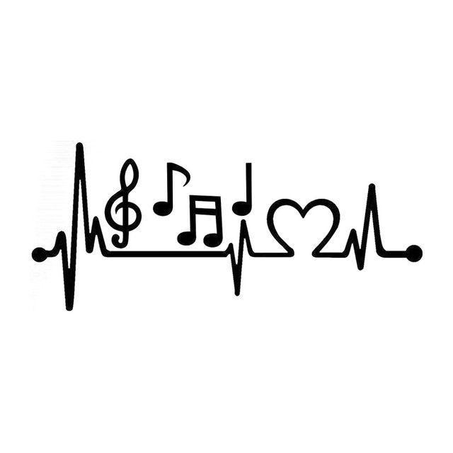 21.5cm*8.3cm Music Notes Heartbeat Car-Styling Vinyl Car Sticker Black/Silver S3-4951
