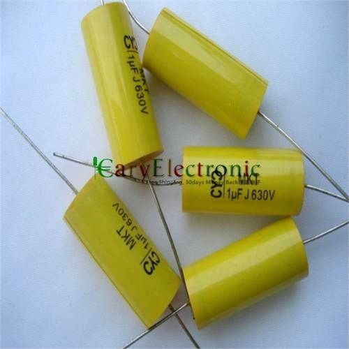 Wholesale and retail long leads yellow Axial Polyester Film Capacitors electronics 1.0uF 630V fr tube amp audio free shipping