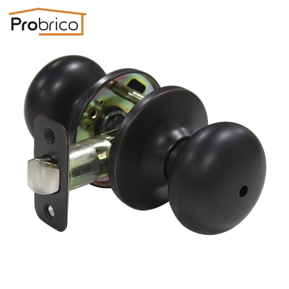 Probrico Interior door handles with lock cylinder Oil rubbed bronze knob Stainless Steel Door button Lock bathroom Door hardware