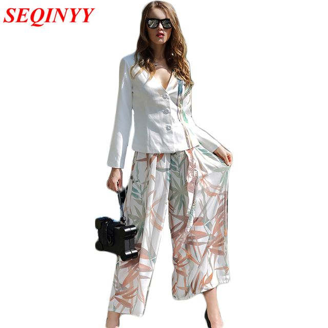 W1722 Elegant Pants Set OL Women's Daily 2016 Fashion Ink Printed Long Sleeve Belt Suit Jacket + Translucent Wide Leg Pants Set
