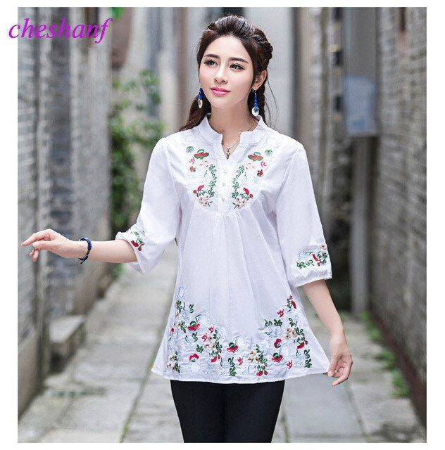 2017 Vintage 70s Women Ethnic Floral Embroidered Boho Hippie Mexican Peasant White Gypsy Blouse Chic Tops Blusas Free Shipping