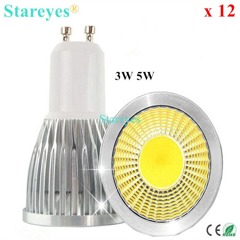 Free shipping 12 pcs Dimmable 5W 3W GU10 E27 B22 E14 GU5.3 MR16 LED COB Spotlight Downlight Droplight lamp bulb LED Light