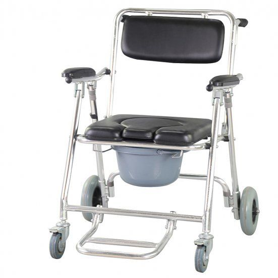 Rehabilitation health supplies Medical Devices Mobile Commode Chair with 4 brakes, Wheels & Footrests Wheelchair Toilet
