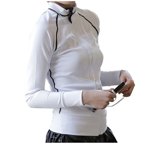 Woman Jogging Outdoors Sports Training Jacket Breathable Wicking Stretch Was Thin Long-Sleeved Jackets Sun Fitness