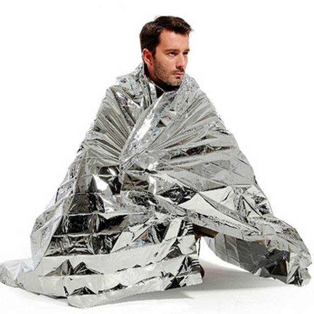 Portable Waterproof Emergency Space Rescue Thermal  Foil Mylar Blankets Silver 1.4m x 2.1m survival tools