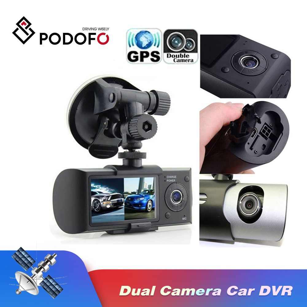 "Podofo Dual Camera Car DVR R300 with GPS and 3D G-Sensor 2.7"" TFT LCD X3000  Cam Video Camcorder Cycle Recording Digital Zoom"