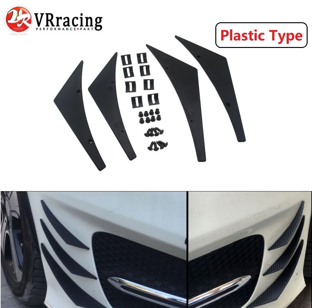 VR RACING - New Universal Fit Front Bumper Lip Splitter Fins Body Spoiler Canards Valence Chin VR-BS21