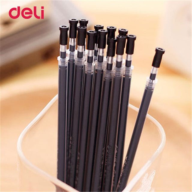Deli new Ball Pen Refill Lead Black 20 pcs Ballpoint Pen Refill Stationery Office School Supplies Gel Pen Refill Smooth writing
