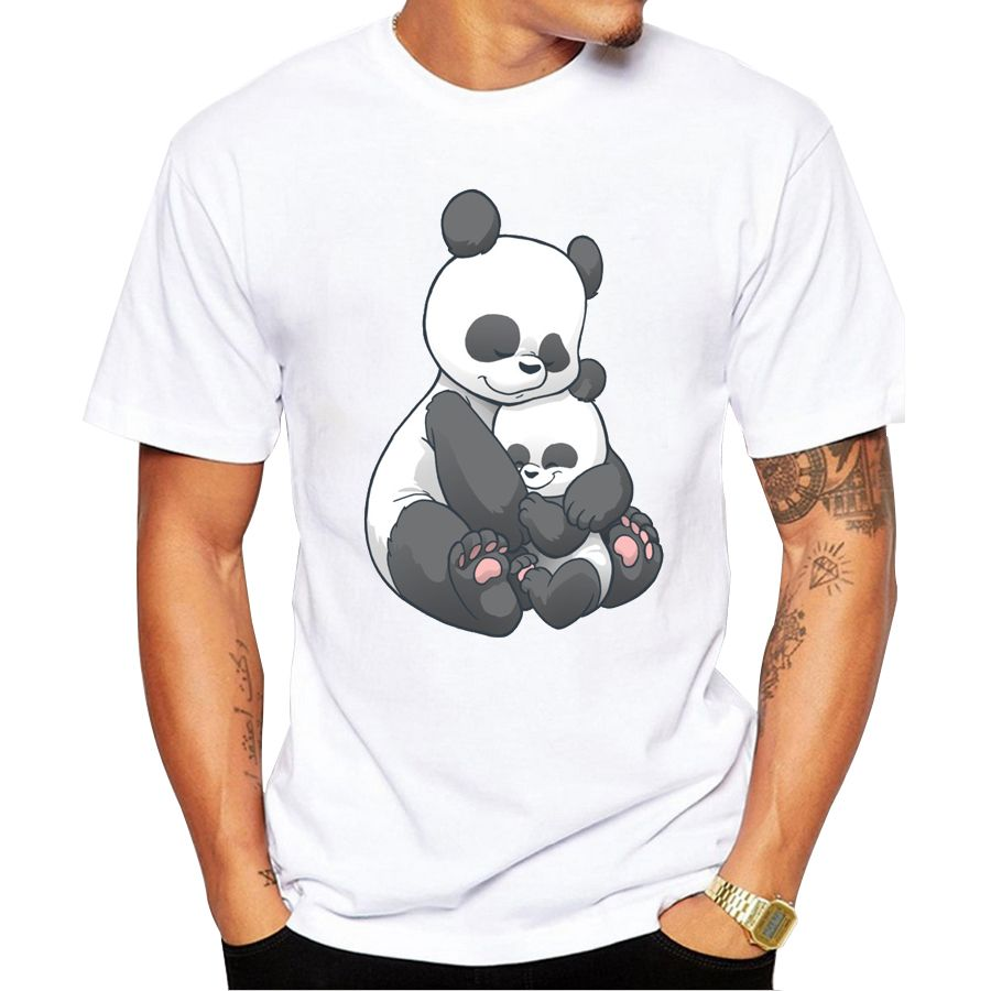 Popular fashion man's Tops 2019 summer latest printed Panda Hug design very interesting,man T-shirts Hot Tops