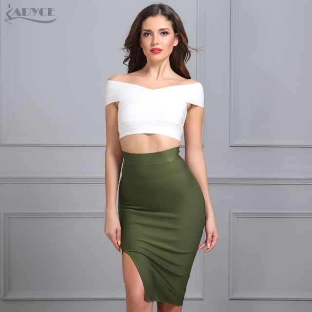ADYCE 2017 New Women Bodycon Party Bandage Skirt  Khaki Green Black Blue Red Yellow Pink Skirts Sexy Lady Cocktail Party Skirt