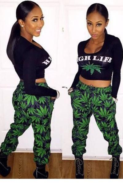 High Street Life Weed Tracksuits Women Print Outfits Pant & Long Sleeve Top Bodycon Set Clothes Women Suit LC6968