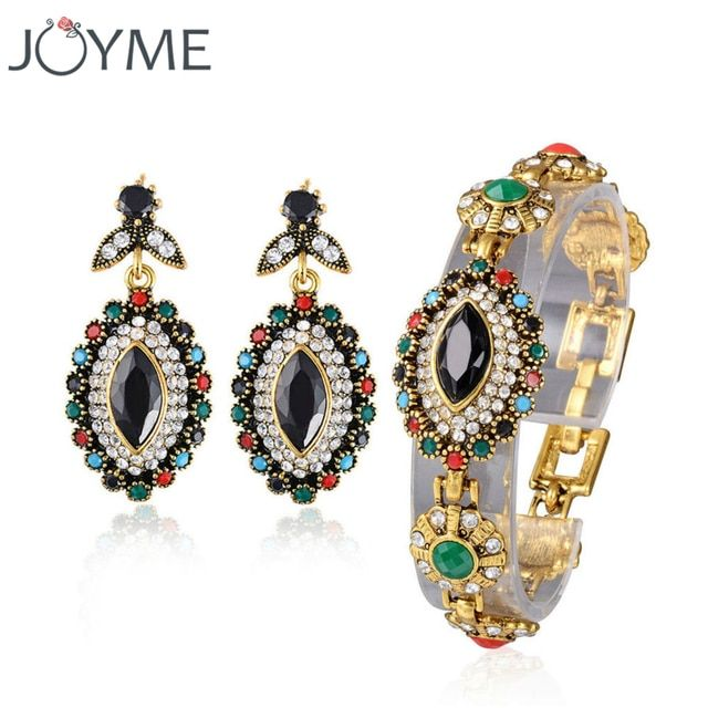 Joyme Brand Turkish Vintage Jewelry Eye Black Crystal Long Earrings Bohemian Bracelets For Women Jewelry Set Pulseira Masculina