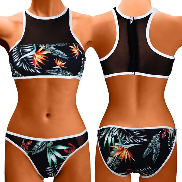 2018 Sexy High Neck Bikini Newest Padded Vintage Bikini Sets Push Up Swimwear Women Retro Swimsuit Brazilian Biquini Size SML XL