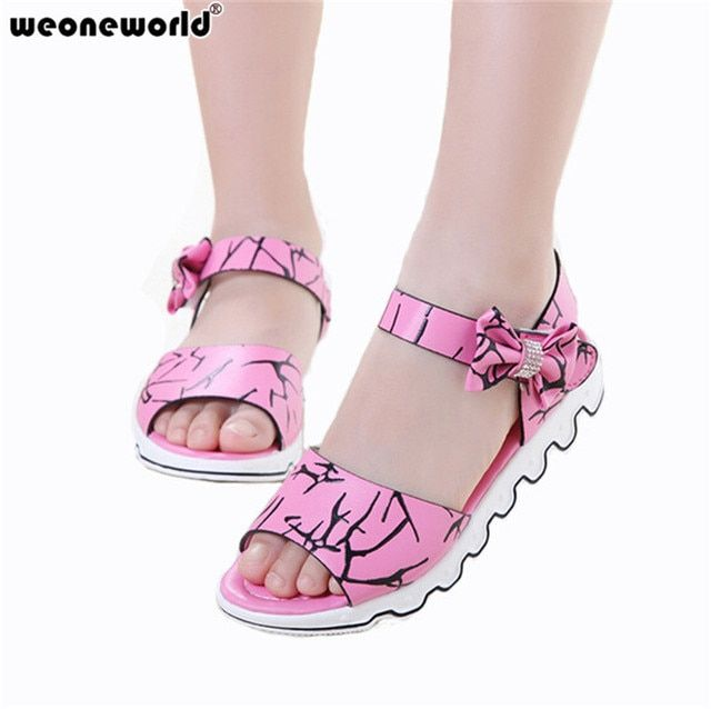 WEONEWORLD Children Shoes Girls Sandals 2018 New Summer Girls Leather Lovely Bowtie Princess Teens Sandals Kids Fashion Shoes