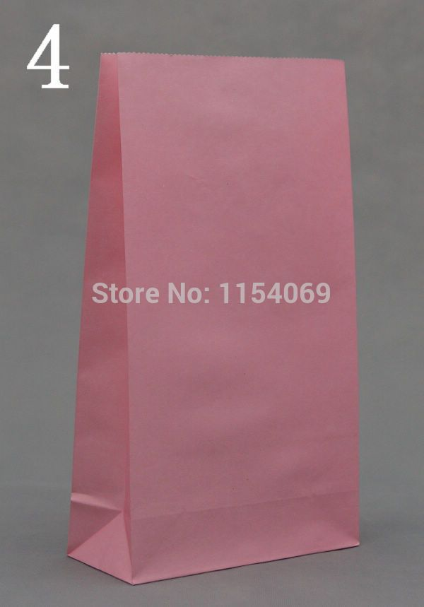 100pcs/lot Pink Paper Bags 23x12x7.5cm Recyclable Candy Boutique Gifts Packaging Bags Cute Kraft Paper Gift Bag For Boutique