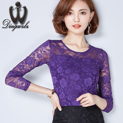 Women clothing elegant lady long sleeve lace shirt Casual female stitching Solid color lace blouse embroidered lace tops
