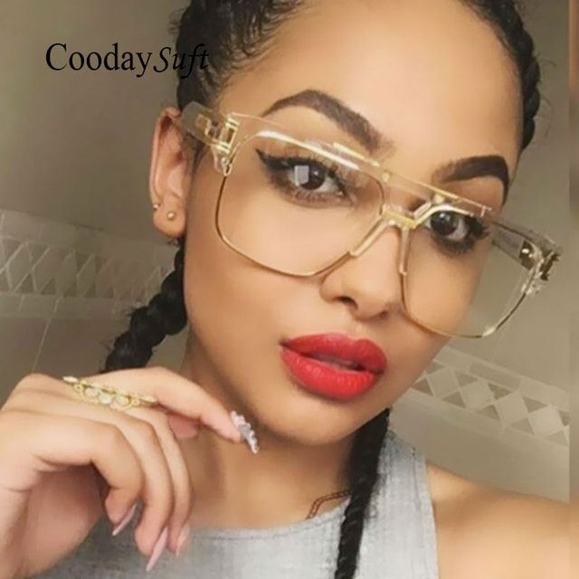 Coodaysuft Brand Designer Oversized Men Sunglasses Women Flat Top Sun Glasses Frame Square Male Clear Transparent Male Female