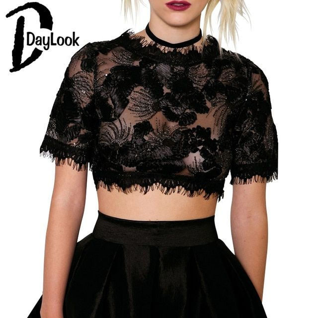 DayLook 2016 Women Crop Top Black Tasseled Trims Sequins Embroidery  Sheer Lace Crop Top Plus Size S-L poleras de mujer