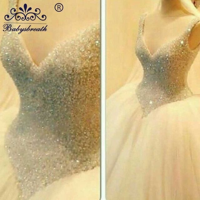 2017 Deep V Neck Fully Crystal Beaded Corset Bridal Ball Gown Lace Up Back Princess Tulle Wedding Dress Vestidos De Noiva