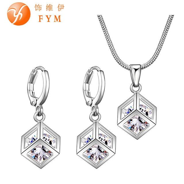 Crystal Silver Magic Square 3D Pendant Collares Earrings Jewelry For Women Wedding and Engagement Bridal Bridesmaid Jewelry Sets