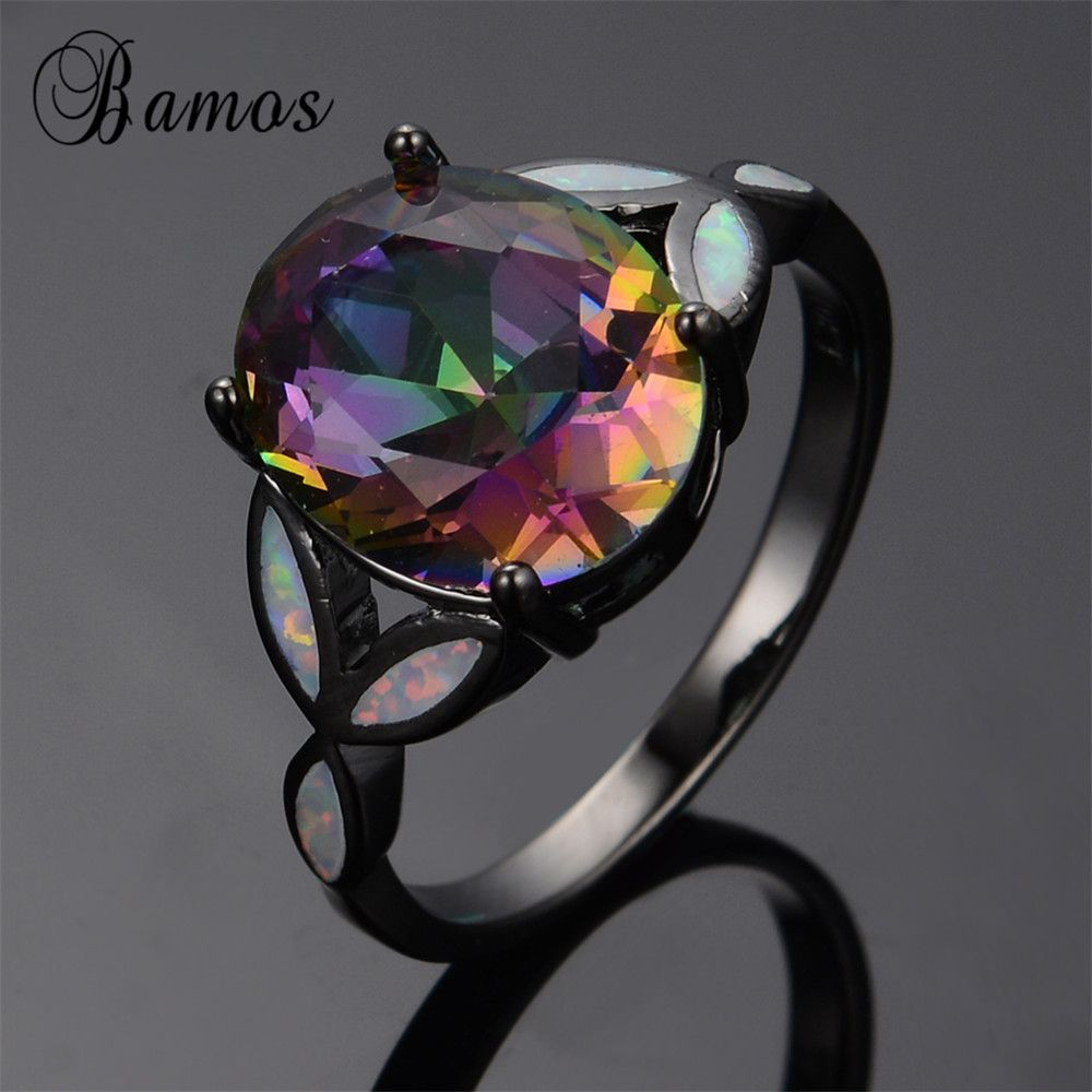 Mysterious Rainbow Fire Opal Ring Gorgeous Black Gold Filled Jewelry Wedding Party Big Zircon Rings For Women Bijoux RB0279