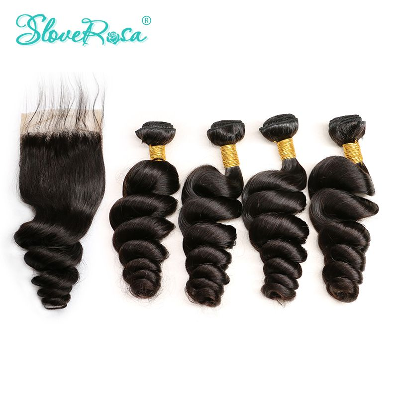 Human Hair Bundles With Closure3 4 Brazilian Bundles Weave Loose Wave Remy Hair Lace Closure 4*4 Pre Bleacked Slove Rosa Product