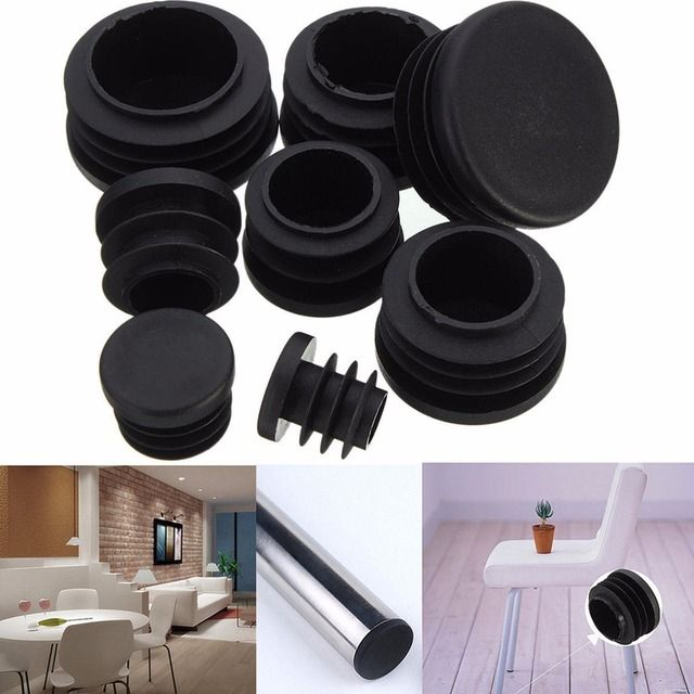 10pcs Black Plastic Furniture Leg Plug Chair Legs Foot Blanking End Caps Insert Plugs Bung For Round Pipe Tube 8 Sizes 16-35mm
