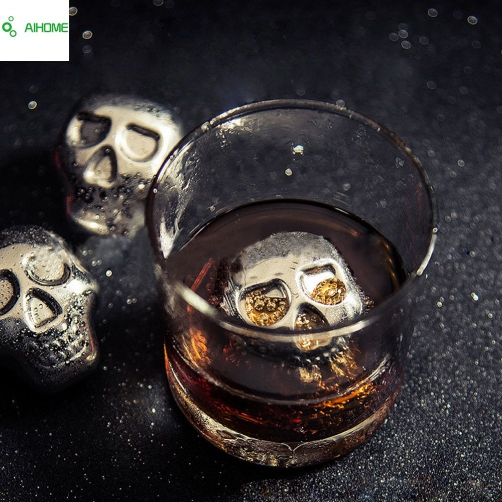 Personality 304 Stainless steel Skull Ice Cubes Whiskey Ice Drink  Wiskey/wine/beer Cooler Appliances for Bar Accessories