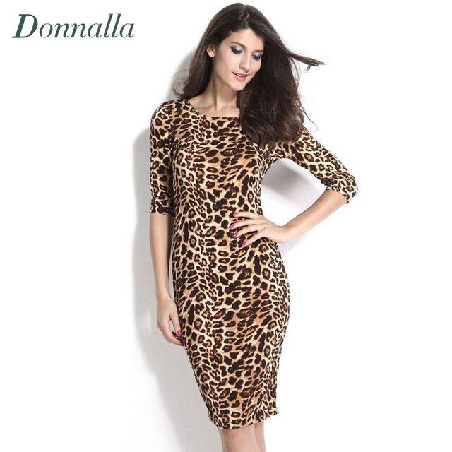Women Bodycon Dress Long Sleeve Leopard Dress Office Lady Knee Length Work Dress OL Midi Bandage Pencil Dresses Women Sexy Robe