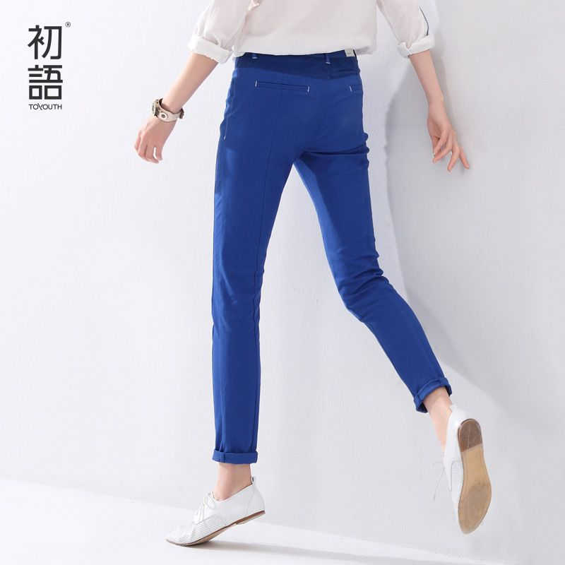 Toyouth 2017 Women Low-Waist Pencil Pants Slim Brief Fashion Color Block All-Match Casual Trouses Women XXL Size Pants