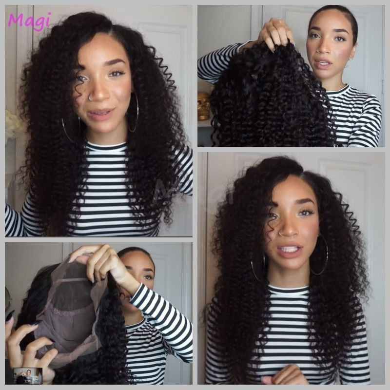 Glueless Full Lace Wigs For Black Women Black/Brown Front Lace Wig Virgin Brazilian Curly Full Lace Wig With Baby Hair