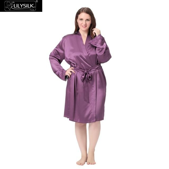 Lilysilk 100% Pure mulberry Silk Bathrobe Pure Kimono Robe For Women Plus Size 22 Momme Long Sleeve Lace Summer Female Novelty