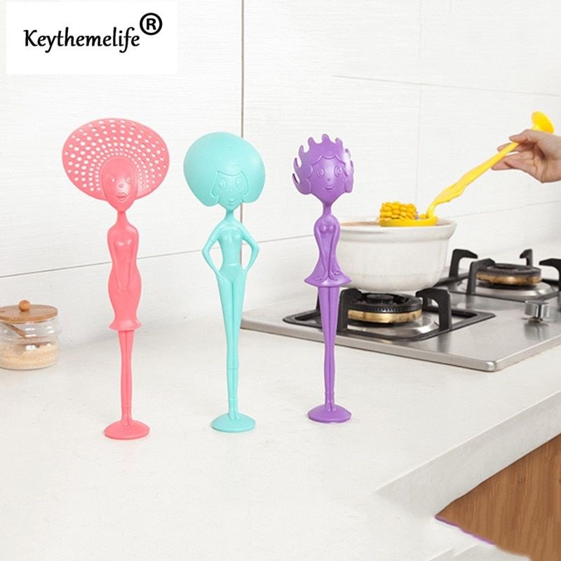 1PCS Multi-Purpose Can stand human shape Spoon Colander Mein spoon plastic Kitchen Tools Utensils B