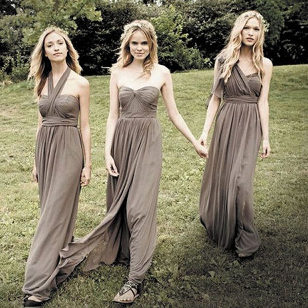 Gray Chiffon Long Bridesmade Dresses 2017 Three Styles Greek Goddess Maid Of Honor Jurk Party Prom Occasion Gowns Custom made