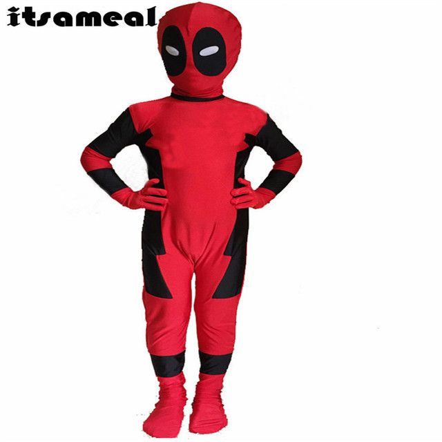 1 pc Kids Moda HALLOWEEN Cosplay t shirt Red Spandex Full Body Deadpool Costume for party shows